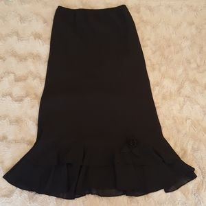 Metaphor ruffled black skirt